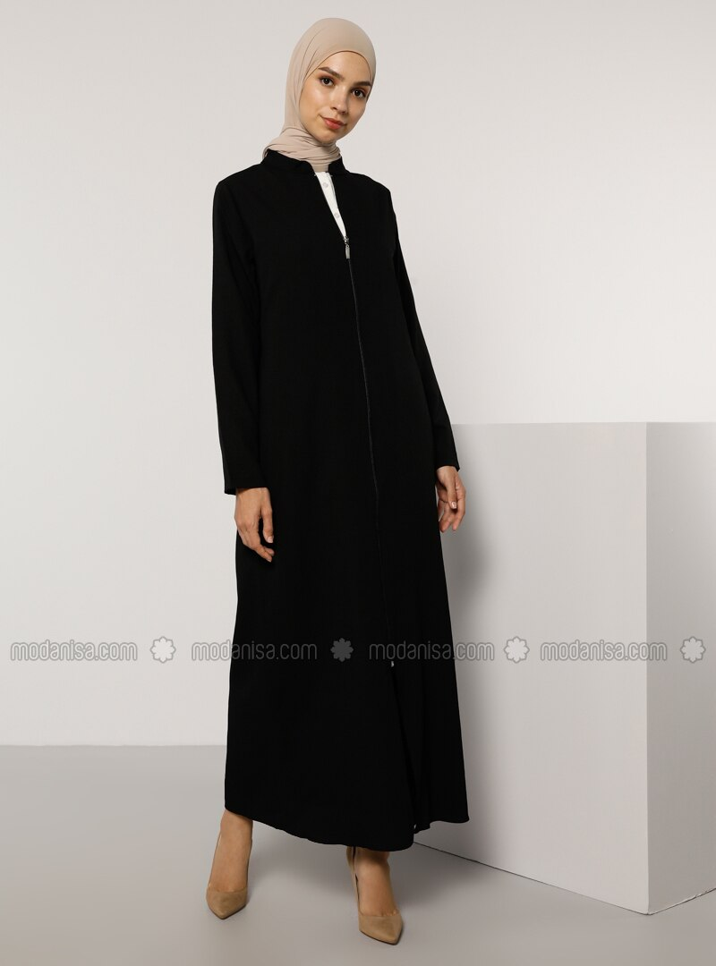 Zippered Abaya - Black