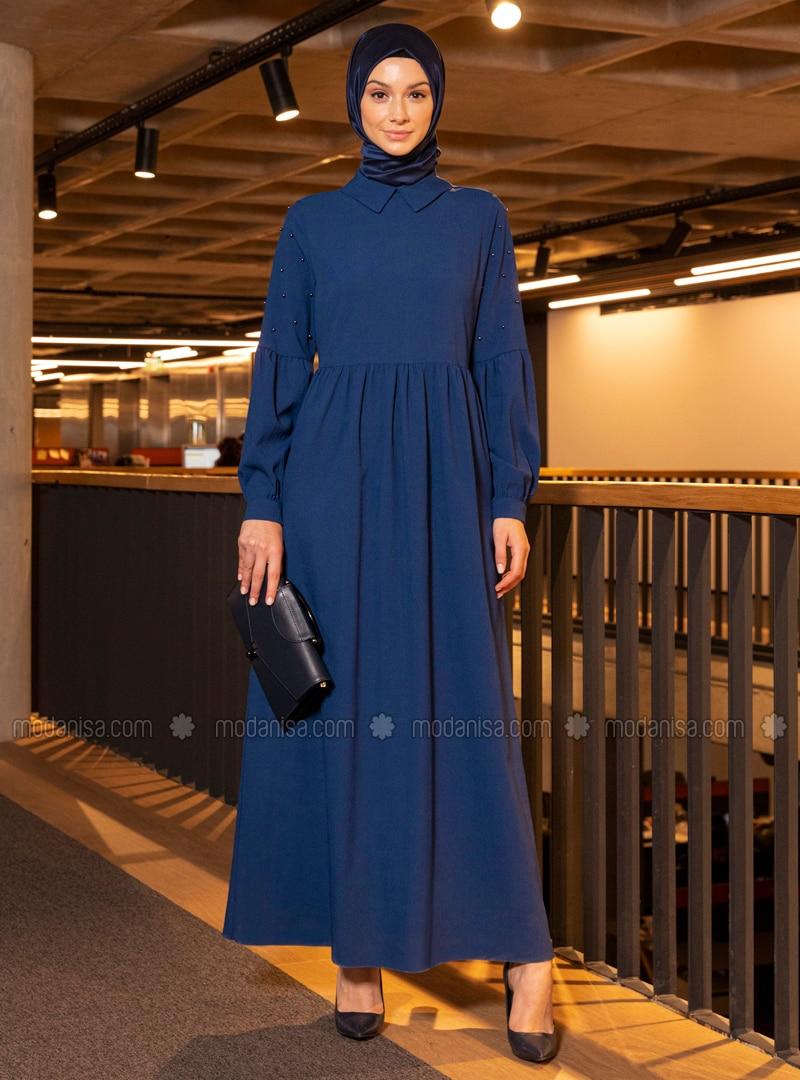 indigo - royalblau - spitzer kragen - ohne innenfutter - hijab kleid