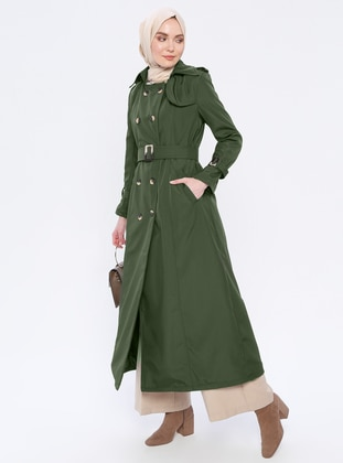 Khaki - Fully Lined - Point Collar - Acrylic - Trench Coat