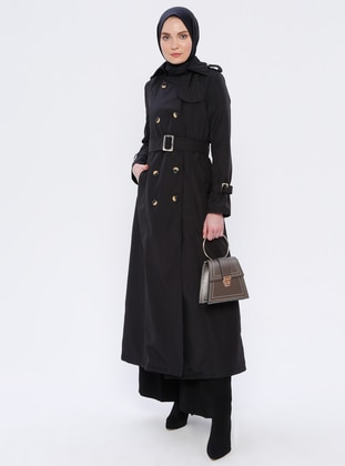 Black - Fully Lined - Point Collar - Acrylic - Trench Coat
