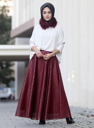Maroon - Fully Lined - Skirt