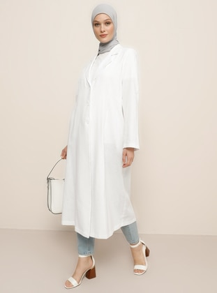 White - Ecru - Shawl Collar - Linen -  - Topcoat