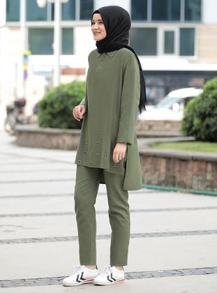 Khaki - Unlined - Crepe - Suit