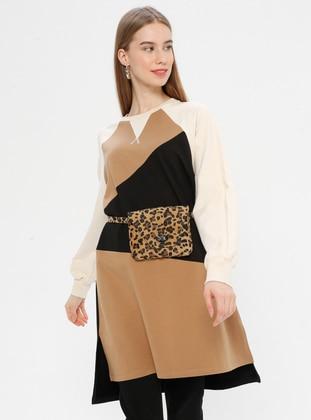 Black - Shawl Collar -  - Tunic