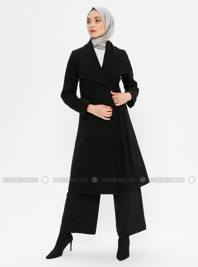 Black - Fully Lined - Shawl Collar - - Coat - Puane