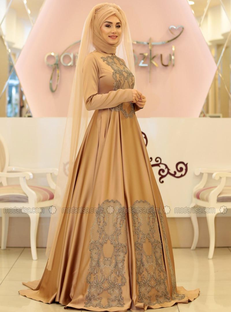 Camel - Fully Lined - Crew neck - Muslim Evening Dress