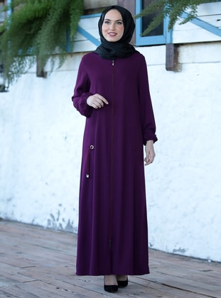 Plum - Unlined - Crepe - Abaya