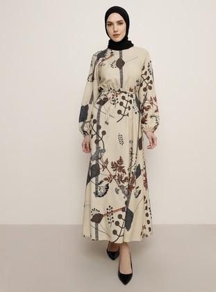 Beige - Multi - Crew neck - Unlined - Dress