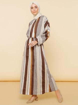 Brown - Stripe - Boat neck - Unlined - Linen - - Dress
