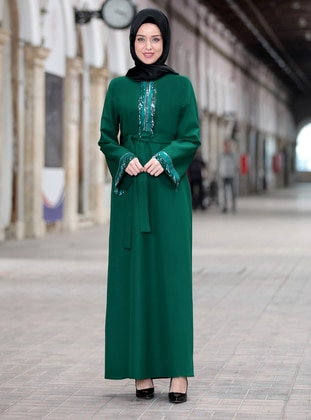 Emerald - Crew neck - Unlined - Crepe - Dress