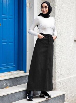 Black - Unlined -  - Plus Size Skirt