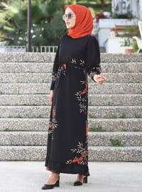 Kahverengi - Siyah - Çiçekli - Yuvarlak yakalı - Astarsız kumaş - Elbise