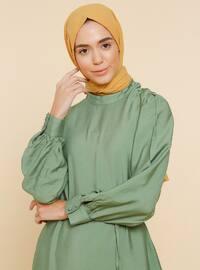Yeşil - Çince yaka - Astarsız kumaş - Viskon - Elbise