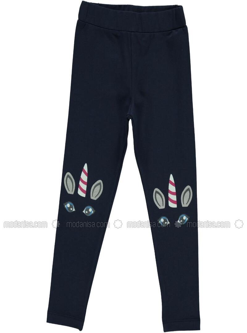 Biru Navy Celana Legging Wanita