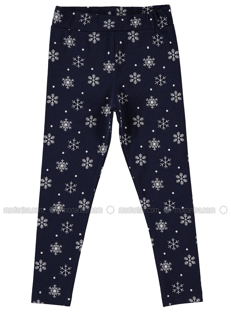 Navy Blue - Girls` Leggings - cvl