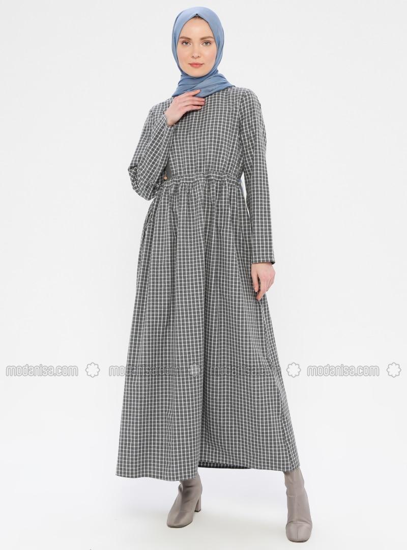 Gray - Plaid - Crew neck - Unlined -  - Dress