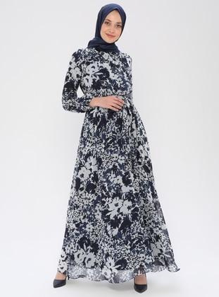 Blue - Floral - V neck Collar - Fully Lined - Dress