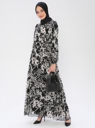 Black - Floral - V neck Collar - Fully Lined - Dress