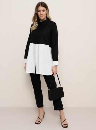 White - Black - Point Collar -  - Plus Size Tunic - Alia