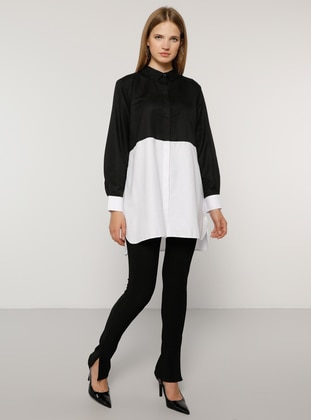 White - Black - Point Collar -  - Plus Size Tunic