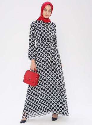 Black - Checkered - V neck Collar - Fully Lined - Dress