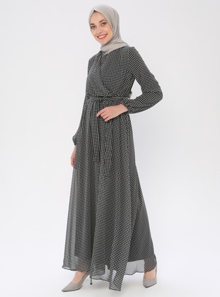 Black - Houndstooth - V neck Collar - Fully Lined - Dress