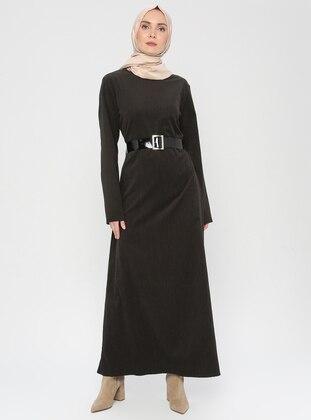 Khaki - Stripe - Crew neck - Unlined - Dress