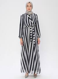 Lacivert - Çizgili - V yaka - Astarlı kumaş - Elbise