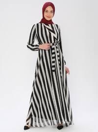 Siyah - Çizgili - V yaka - Astarlı - Elbise
