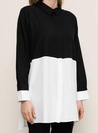 White - Black - Point Collar -  - Plus Size Tunic