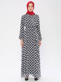Siyah - Kareli - V yakalı - Astarlı kumaş - Elbise