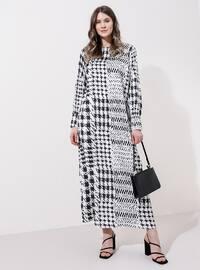 Beyaz - Siyah - Balıksırtı - Astarsız kumaş - Yuvarlak yakalı - Büyük beden elbise