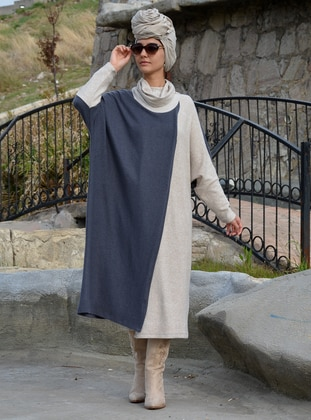Anthracite - Cream - Unlined - Acrylic - Wool Blend - Poncho
