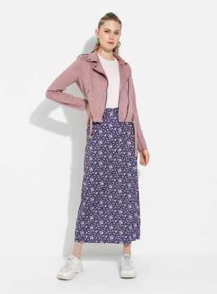 Purple - Floral - Unlined - Skirt