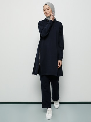 Navy Blue - Navy Blue - Unlined - Cotton - Tracksuit Set