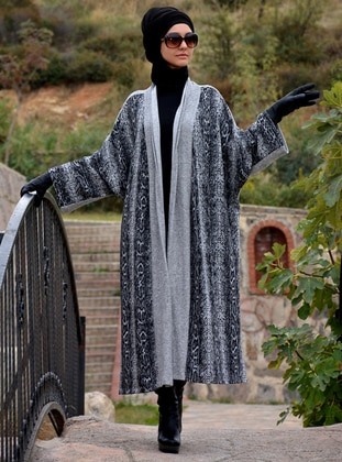 Gray - Acrylic - Wool Blend - Cardigan
