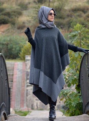 Anthracite - Acrylic - Wool Blend - Poncho - Henna Elısa