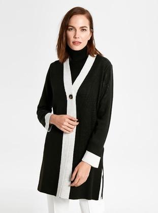 V neck Collar - Black - Cardigan
