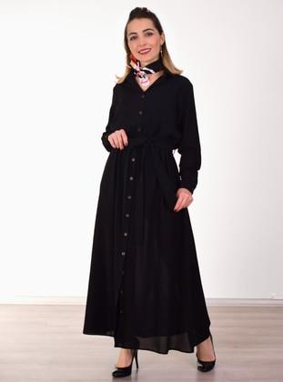 Black - Point Collar - Dress