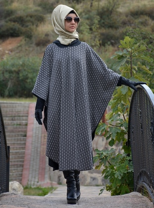 Anthracite - Acrylic - Wool Blend - Poncho