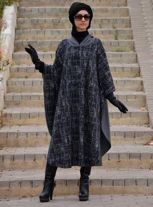 Gray - Acrylic - Wool Blend - Poncho - Henna Elısa