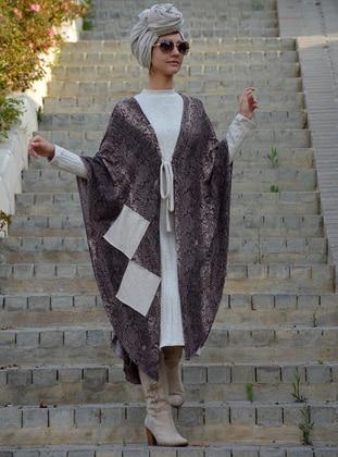 Brown - Mink - Leopard - Acrylic - Wool Blend - Cardigan