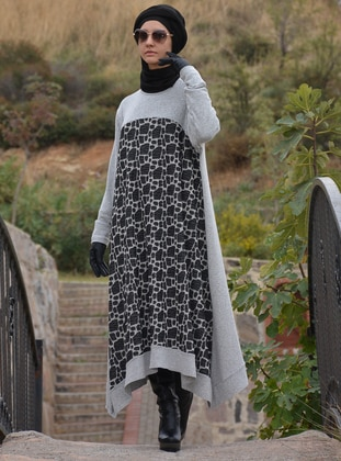 Gray - Acrylic - Wool Blend - Tunic