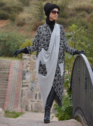 Gray - Unlined - Acrylic - Wool Blend - Poncho