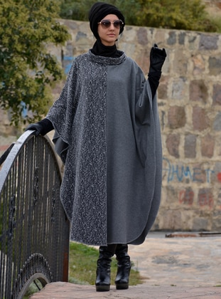 Anthracite - Unlined - Acrylic - Wool Blend - Poncho