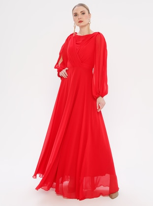 Red - V neck Collar - Fully Lined - Dress