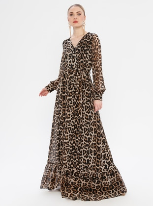Leopard - V neck Collar - Fully Lined - Dress