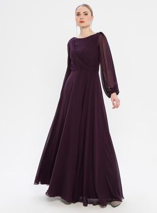 Purple - V neck Collar - Fully Lined - Dress