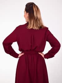 Maroon - Point Collar - Dress