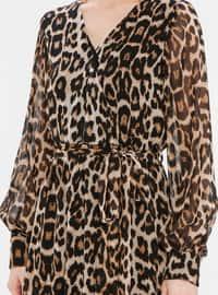 Leopard - V neck Collar - Fully Lined - Dress